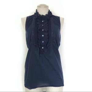 J Crew Factory Ruffle Front Shell Navy Size L
